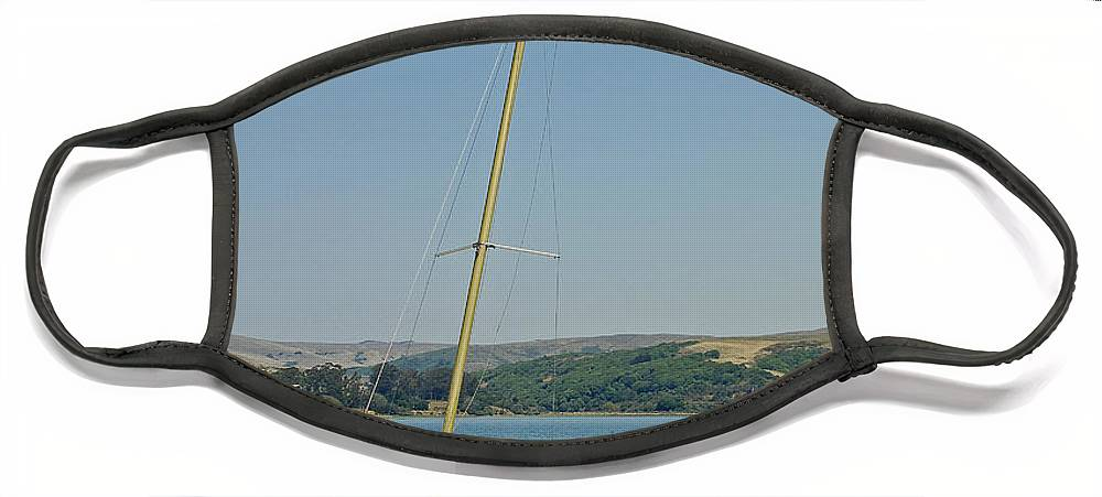 Blue Face Mask featuring the photograph Blue Sailboat by Suzanne Gaff