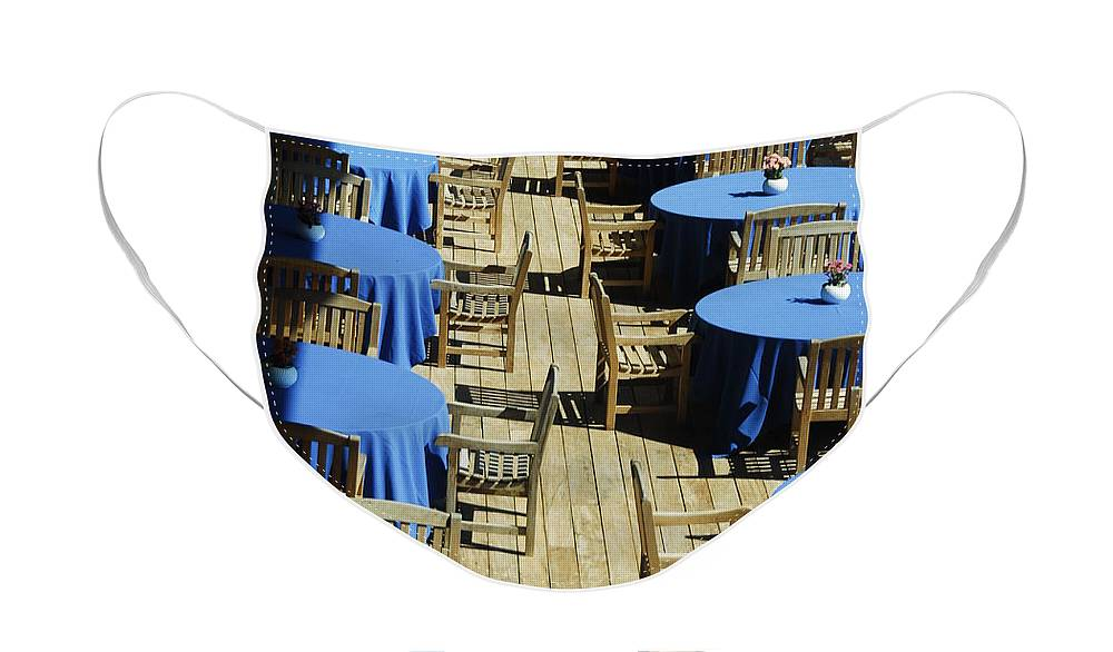 Still Life Face Mask featuring the photograph Blue tables by James Zuffoletto