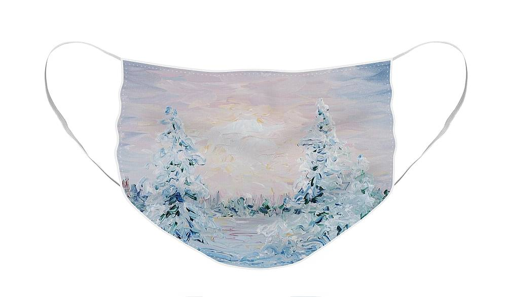 Landscape Face Mask featuring the painting Blue Winter by Nadine Rippelmeyer