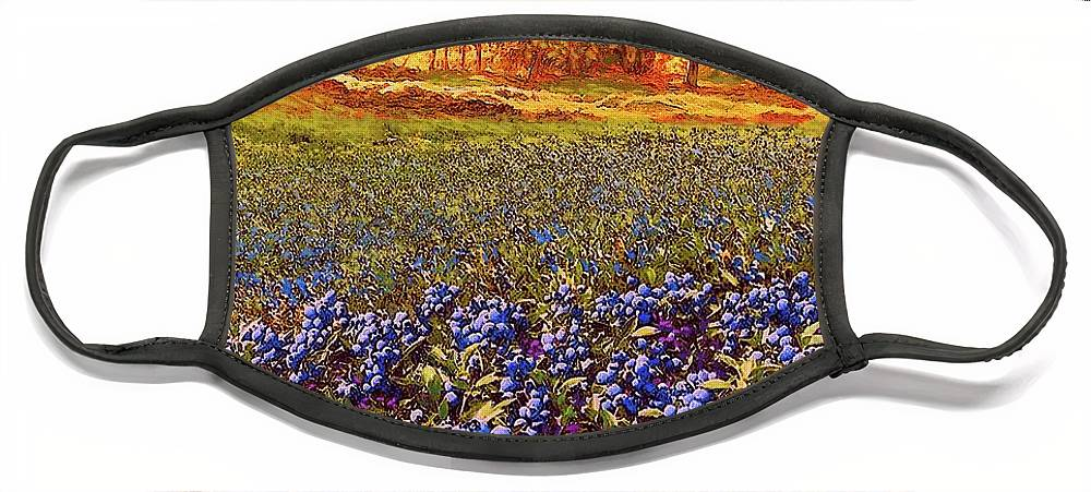 Tree Face Mask featuring the painting Blueberry Fields by Jane Small