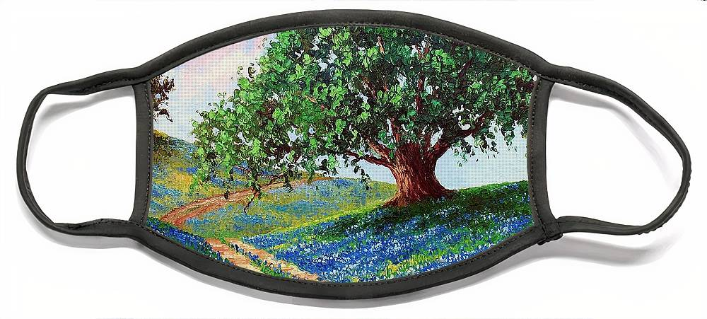 Bluebonnet Face Mask featuring the painting Bluebonnet Road by David G Paul