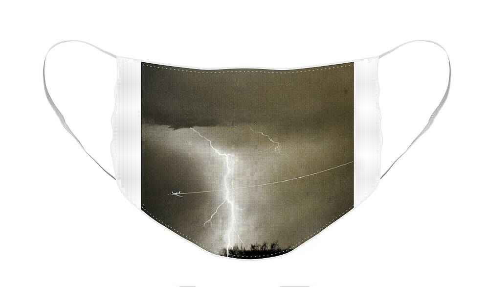 Lightning Face Mask featuring the photograph Bo Trek Lightning BW Fine Art Poster Print by James BO Insogna