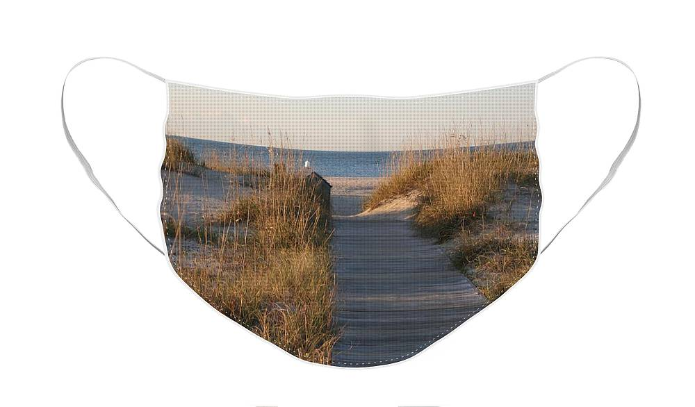 Boardwalk Face Mask featuring the photograph Boardwalk to the Beach by Nadine Rippelmeyer