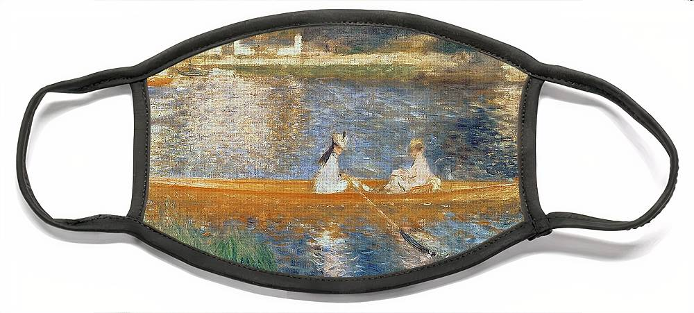 Boating On The Seine Face Mask featuring the painting Boating on the Seine by Pierre Auguste Renoir