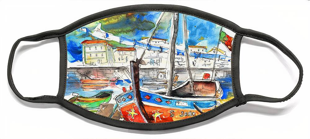 Portugal Face Mask featuring the painting Boats in Tavira in Portugal 02 by Miki De Goodaboom
