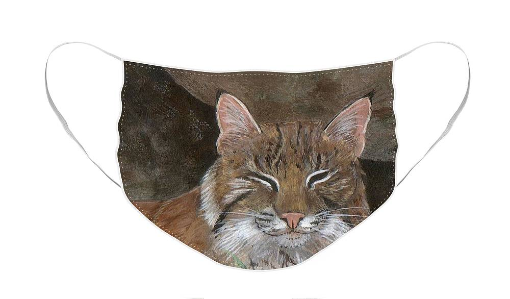 Cat Face Mask featuring the painting Bob Cat by Peggy Conyers