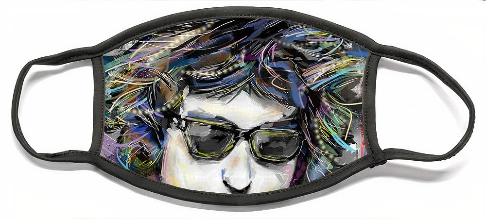 Bob Dylan Face Mask featuring the mixed media Bob Dylan Art by Ryan Rock Artist