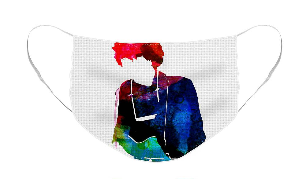 Bob Dylan Face Mask featuring the painting Bob Watercolor by Naxart Studio