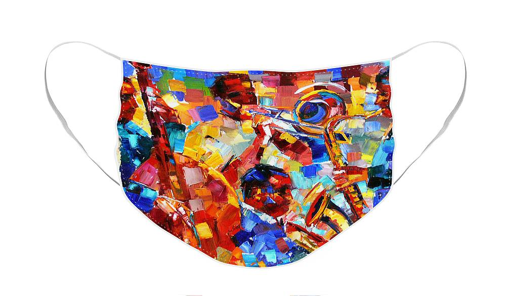 Jazz Face Mask featuring the painting Bold Jazz Quartet by Debra Hurd