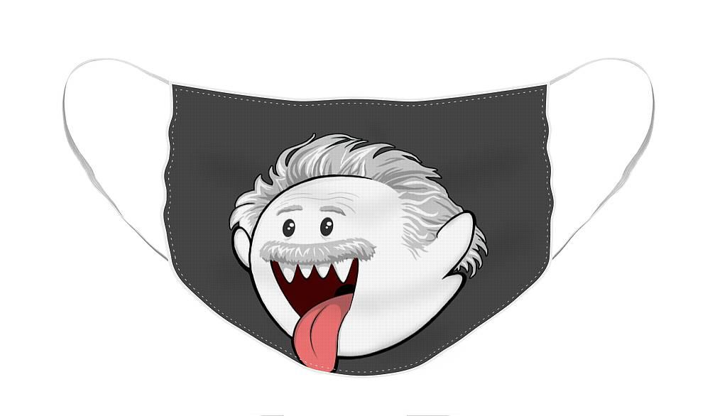 Boo Face Mask featuring the digital art Boo-Stein by Olga Shvartsur