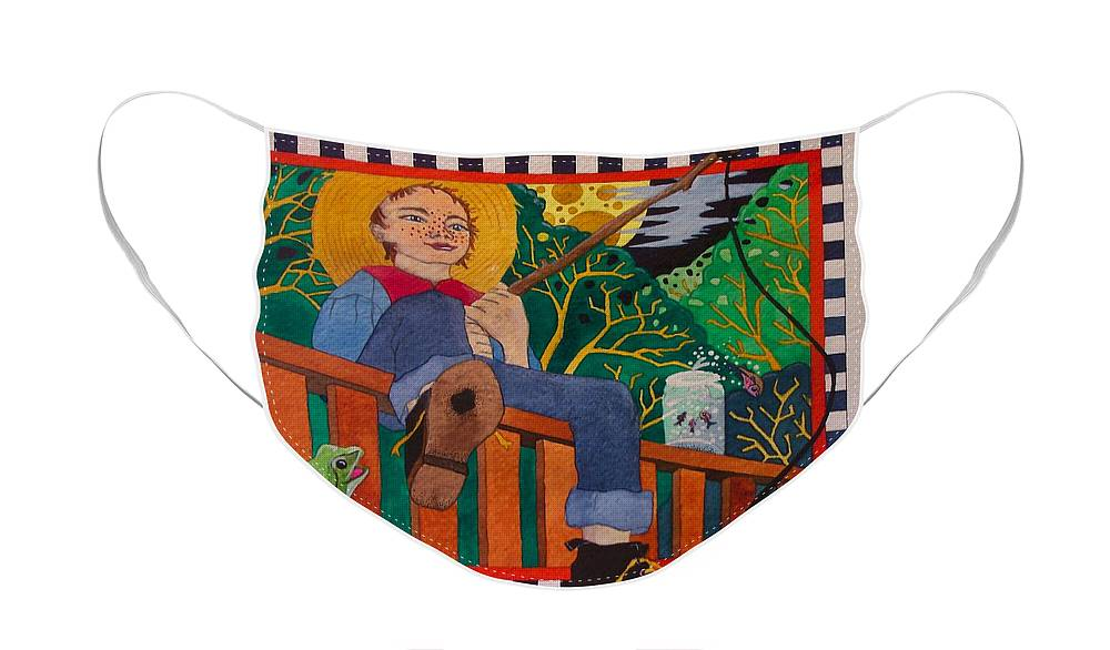 Children Face Mask featuring the painting book illustration - Tom Sawyer by Victoria Heryet