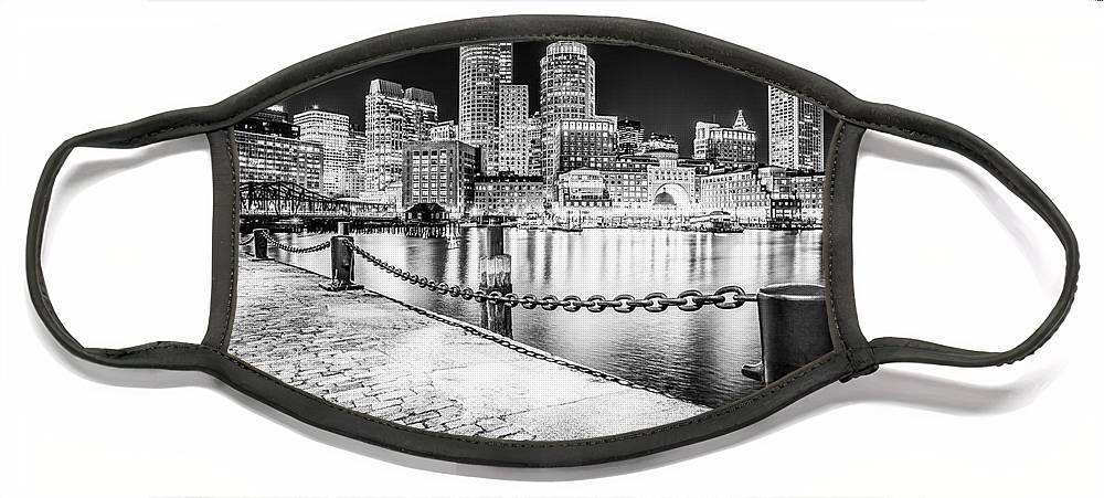 America Face Mask featuring the photograph Boston Skyline at Night Black and White Picture by Paul Velgos