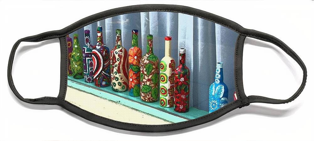 Bottles Face Mask featuring the photograph Bottled Up by Debbi Granruth