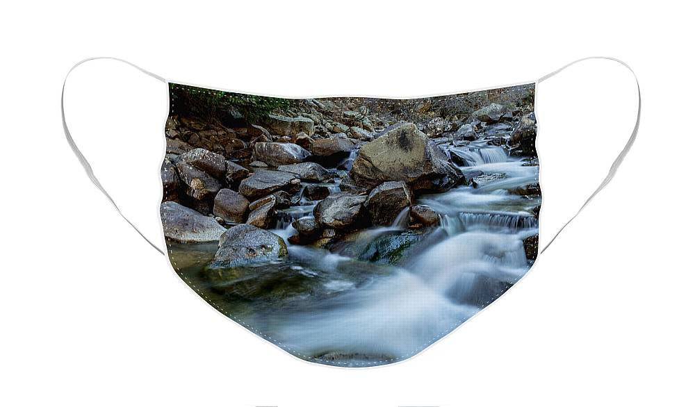 Creek Face Mask featuring the photograph Boulder Creek Water Falling by James BO Insogna