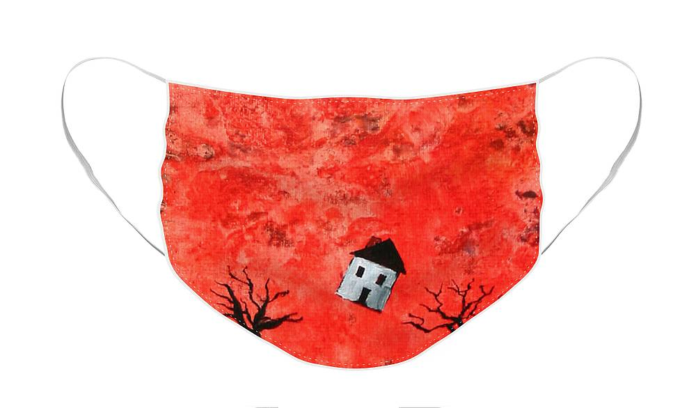 House Face Mask featuring the painting Bouncing House Fiery Sky by Pauline Lim