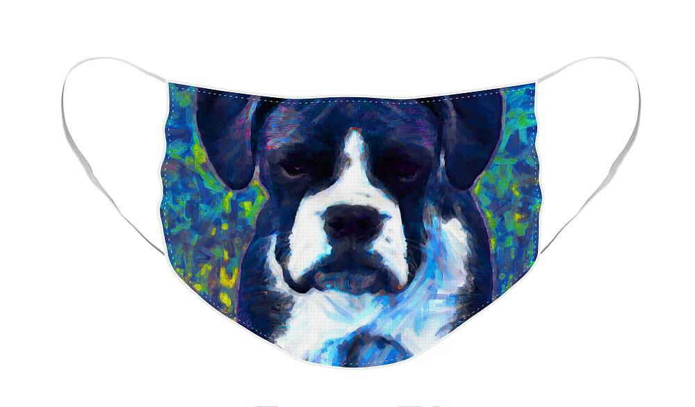 Animal Face Mask featuring the photograph Boxer 20130126v5 by Wingsdomain Art and Photography