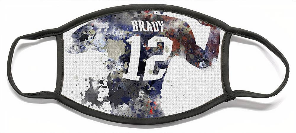 Tom Brady Face Mask featuring the mixed media Brady by My Inspiration