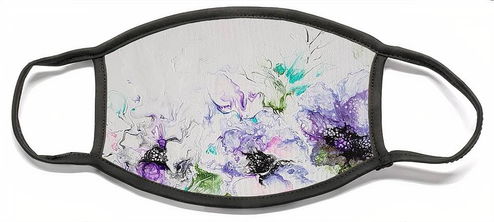 Floral Face Mask featuring the painting Branch of Violet by Jo Smoley