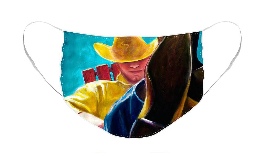 Western Face Mask featuring the painting Break Time by Shannon Grissom