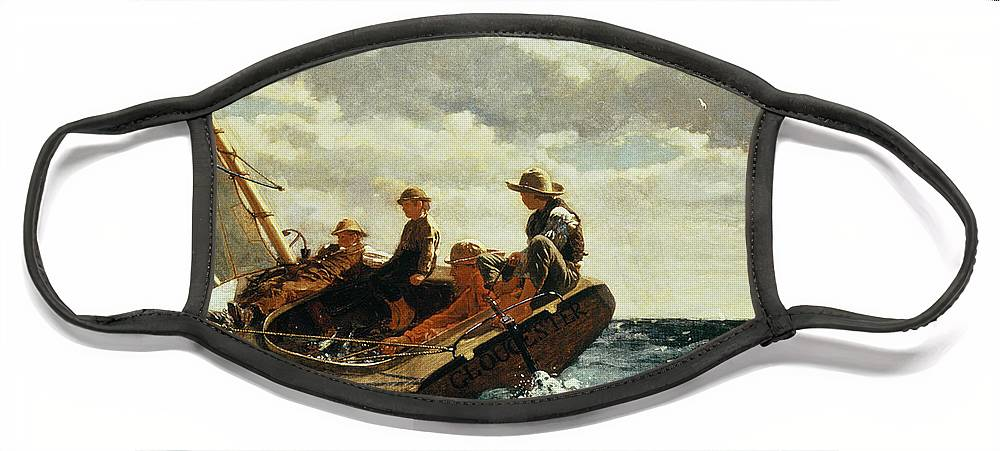 Breezing Up Face Mask featuring the painting Breezing Up by Winslow Homer