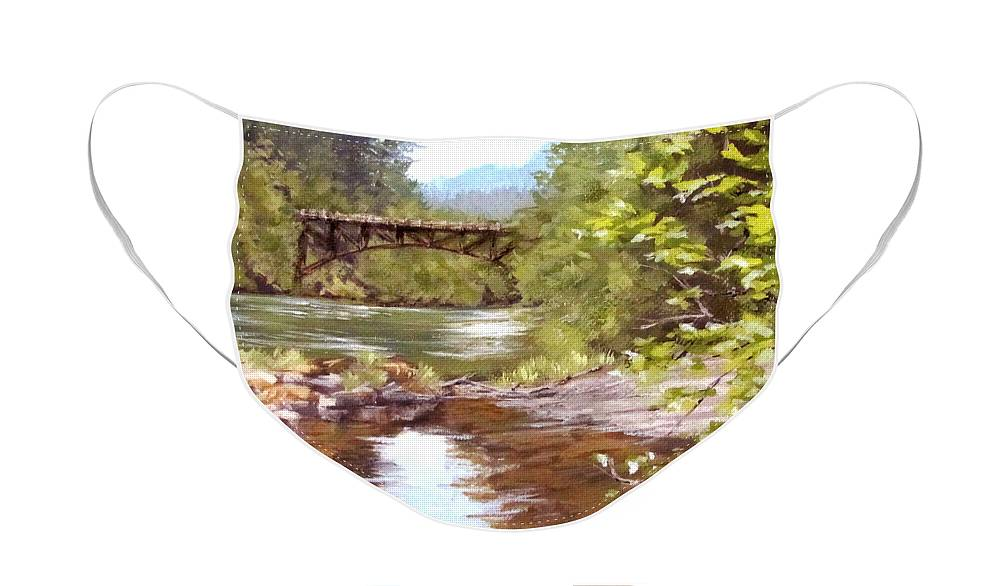 River Face Mask featuring the painting Bridge View by Karen Ilari