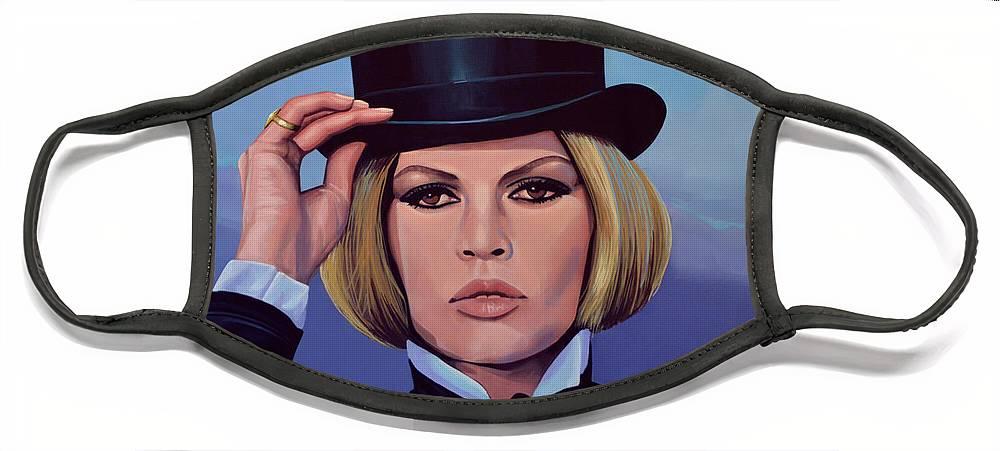 Brigitte Bardot Face Mask featuring the painting Brigitte Bardot Painting 2 by Paul Meijering