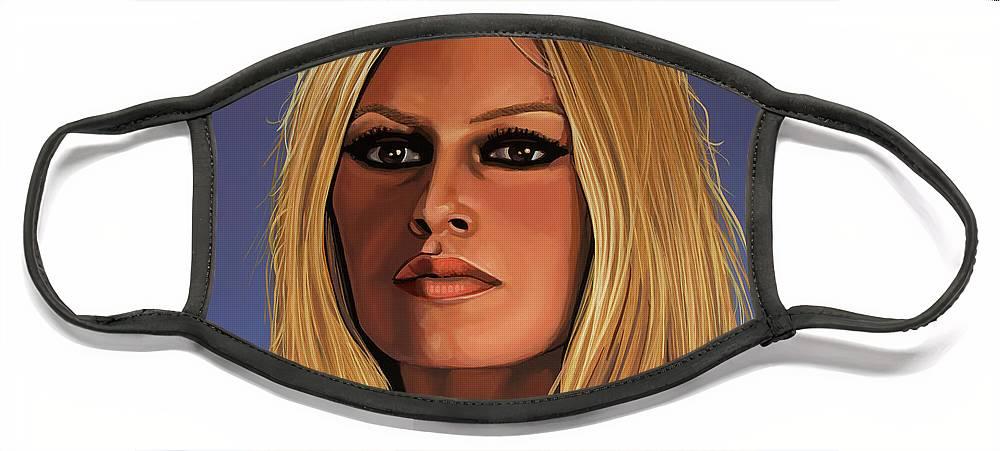 Brigitte Bardot Face Mask featuring the painting Brigitte Bardot Painting 3 by Paul Meijering