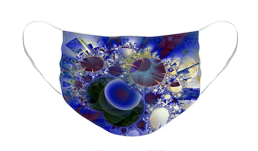 Bubbles Face Mask featuring the digital art Bubbles Concentrated by Ron Bissett