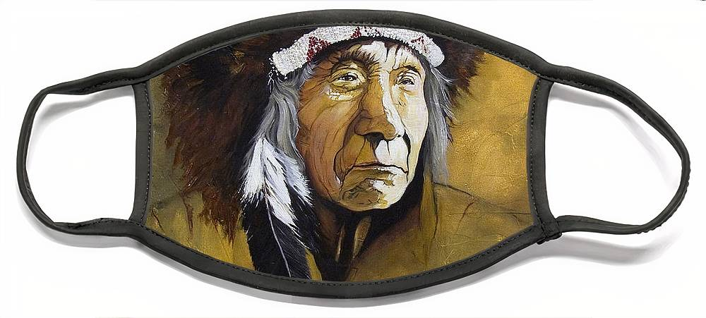 Shaman Face Mask featuring the painting Buffalo Shaman by J W Baker
