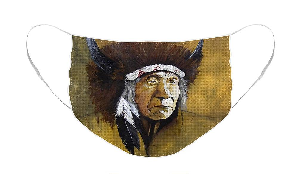 Shaman Face Mask featuring the painting Buffalo Shaman by J W Baker