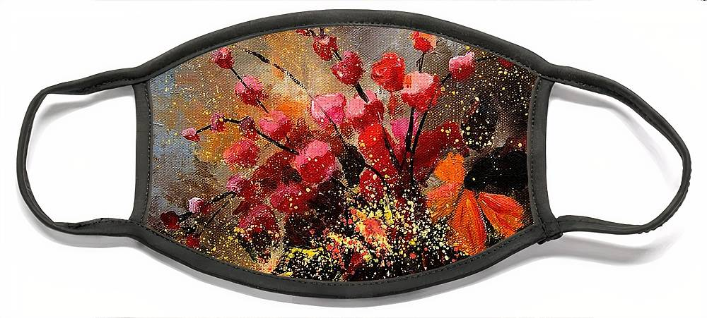 Poppies Face Mask featuring the painting Bunch 1207 by Pol Ledent