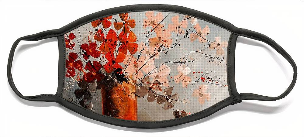 Flowers Face Mask featuring the painting Bunch 670908 by Pol Ledent