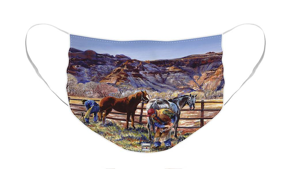Horse Face Mask featuring the painting Butch and Clayton Swapping Shoes and Tales by Page Holland