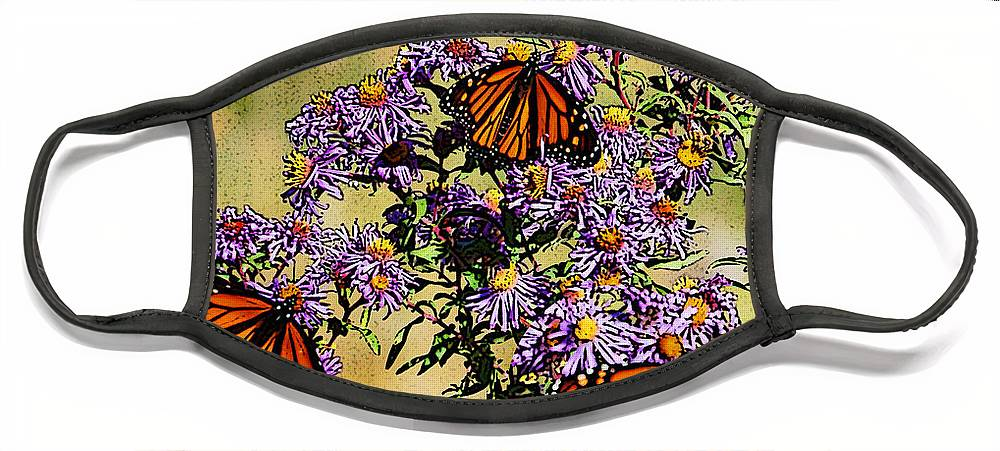 Diane Berry Face Mask featuring the drawing Butterfly Party by Diane E Berry