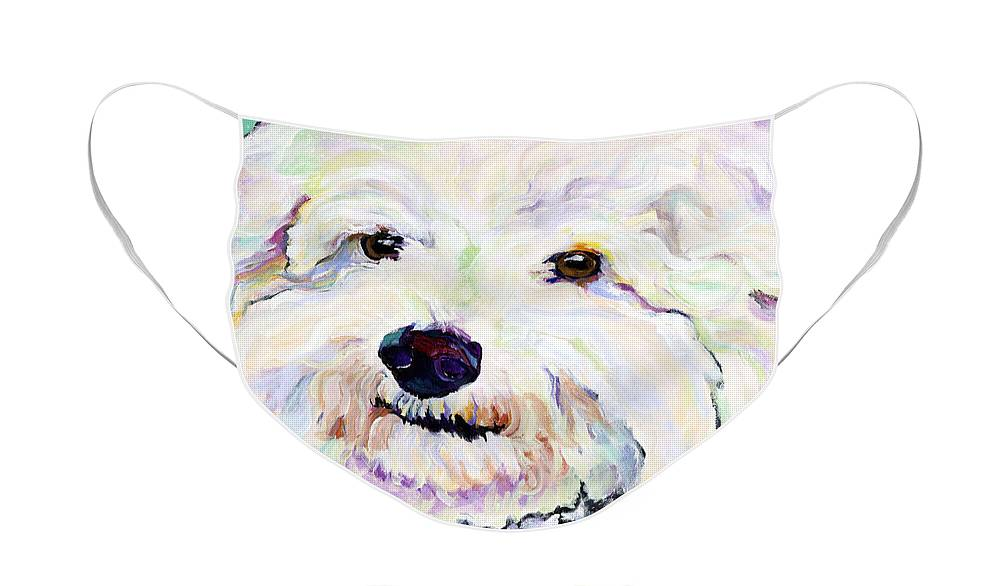 Bischon Face Mask featuring the painting Buttons  by Pat Saunders-White