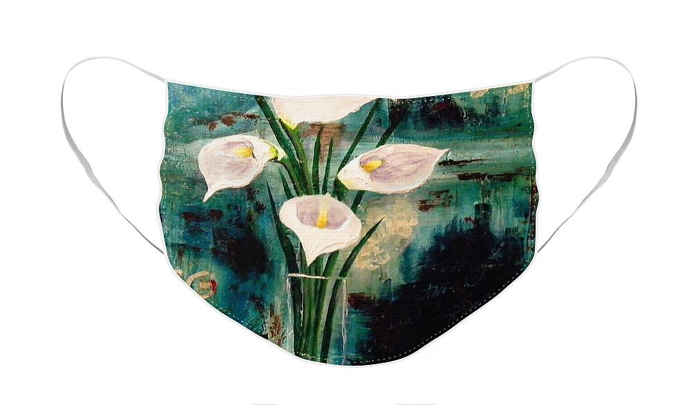 Calla Lilies Face Mask featuring the painting Calla Lilies by Terry Honstead