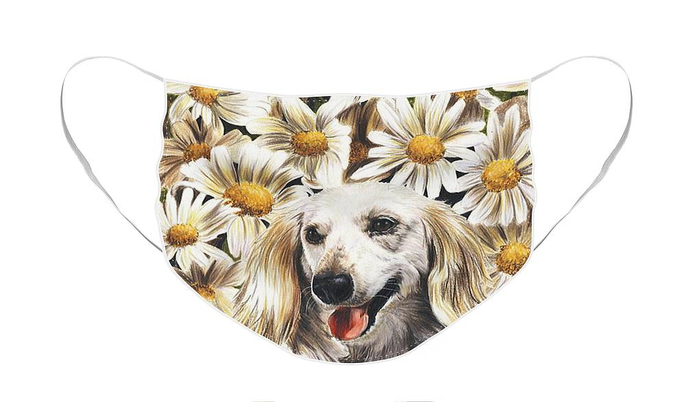 Dachshund Face Mask featuring the drawing Camoflaged by Barbara Keith