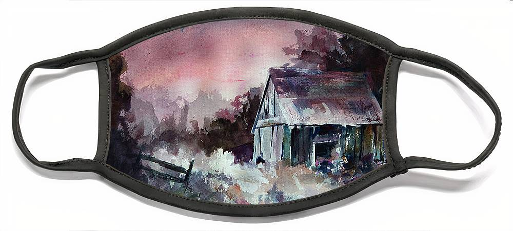 Shack Face Mask featuring the painting Candy Cane by William Russell Nowicki