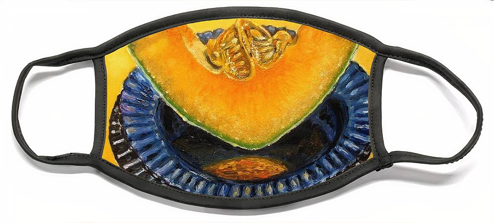 Cantaloupe Face Mask featuring the painting Cantaloupe Oil Painting by Natalja Picugina