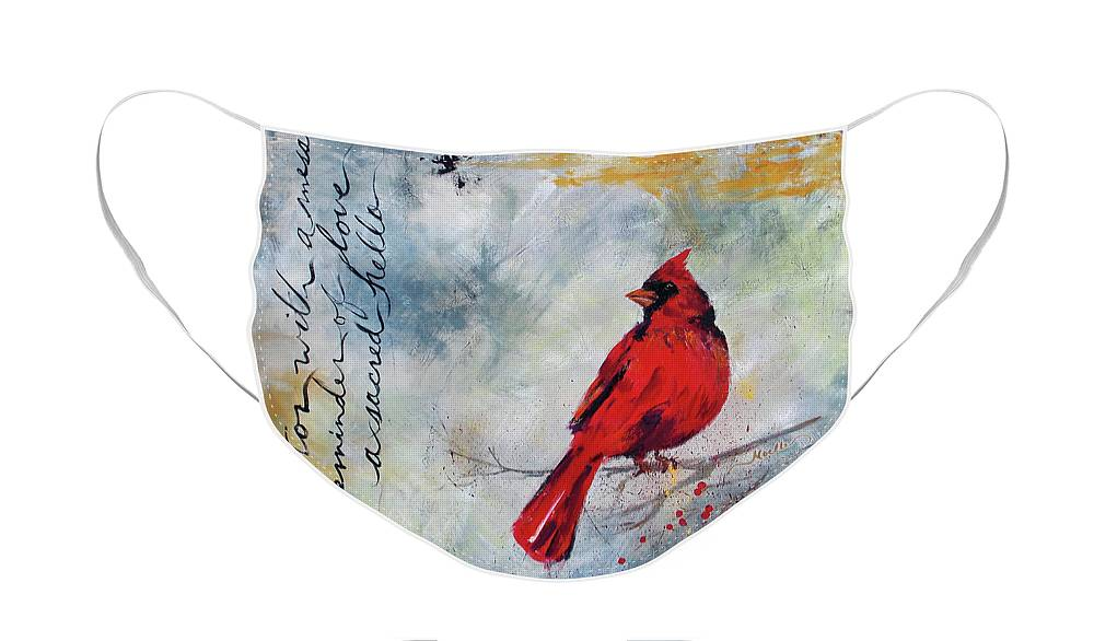 Cardinal Face Mask featuring the painting Cardinal Visitor Square by Noelle Rollins