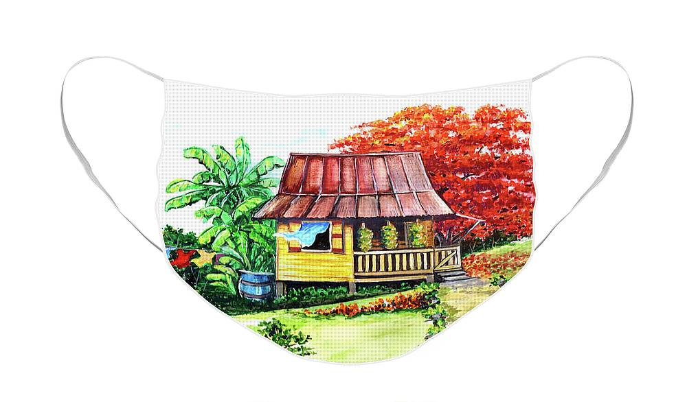 Old House Face Mask featuring the painting Caribbean House On The Hill by Karin Dawn Kelshall- Best