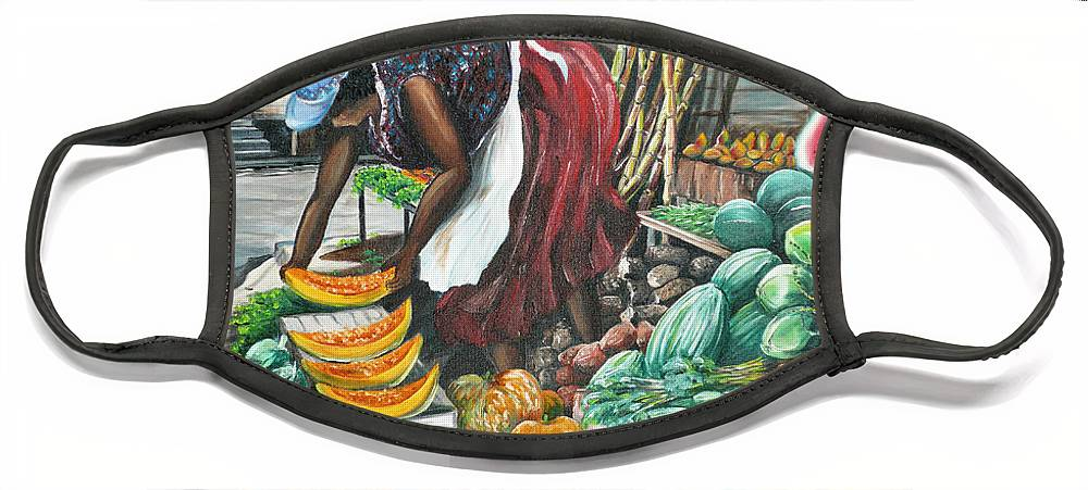 Caribbean Painting Market Vendor Painting Caribbean Market Painting Fruit Painting Vegetable Painting Woman Painting Tropical Painting City Scape Trinidad And Tobago Painting Typical Roadside Market Vendor In Trinidad Face Mask featuring the painting Caribbean Market Day by Karin Dawn Kelshall- Best