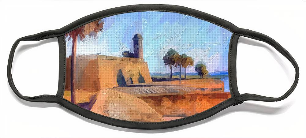 St. Augustine Face Mask featuring the digital art Castillo Rampart by Scott Waters
