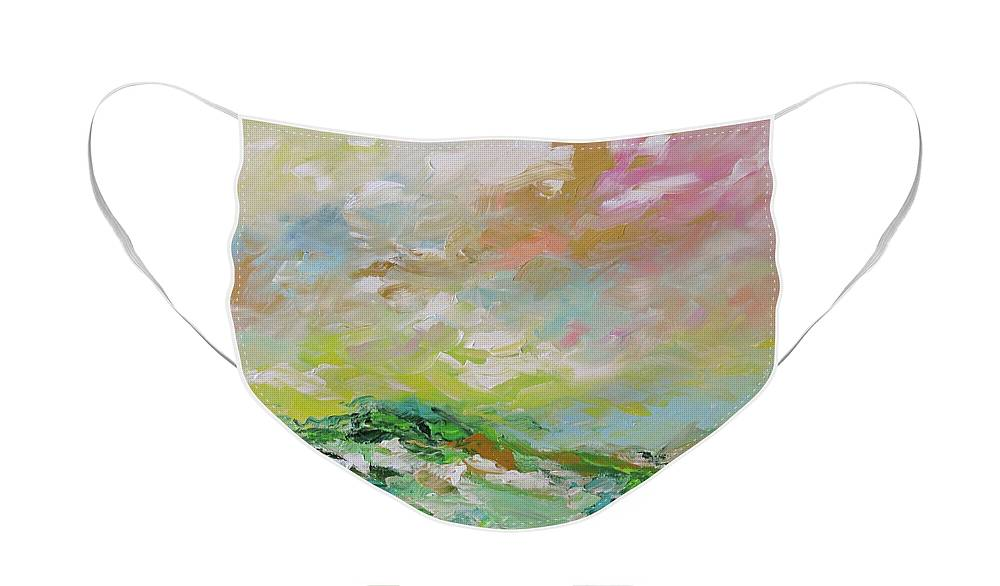 Painting Face Mask featuring the painting Castle On The Moors by Linda Monfort