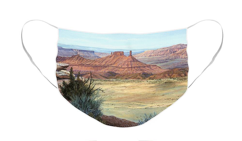 Landscape Face Mask featuring the painting Castle Rock IV by Page Holland