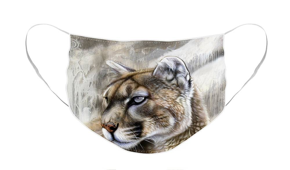 Acrylic Face Mask featuring the painting Catamount by Sandi Baker