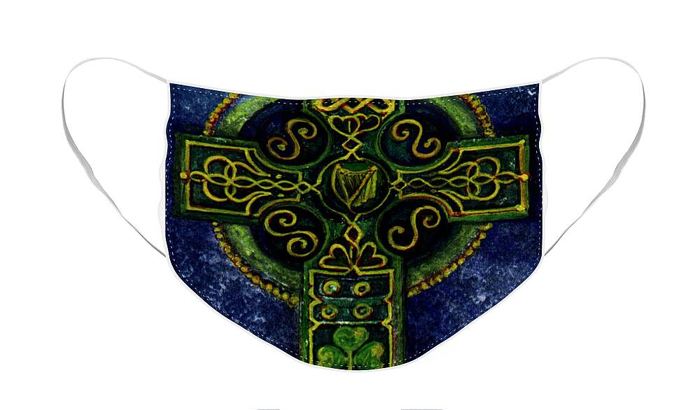 Elle Fagan Face Mask featuring the painting Celtic Cross - Harp by Elle Smith Fagan