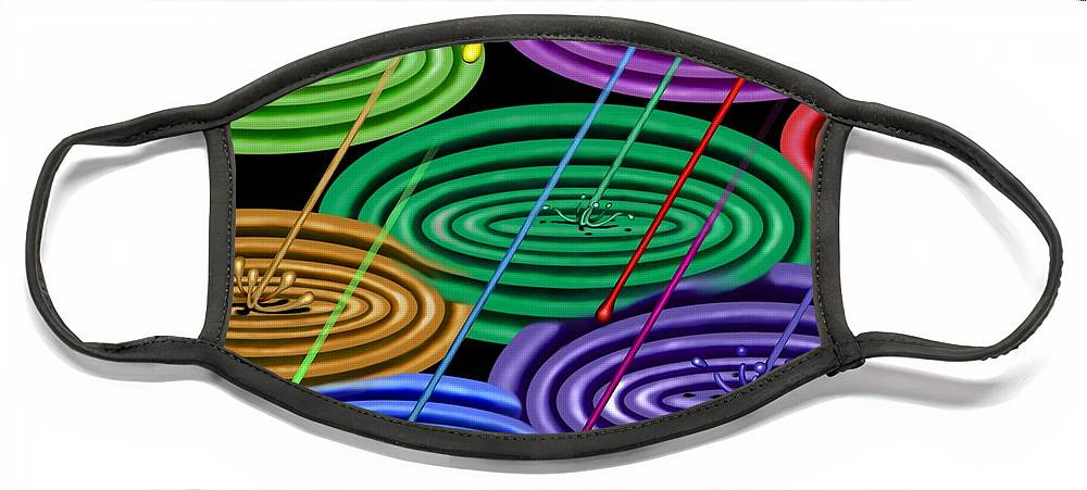 Surrealism Face Mask featuring the digital art Chakra Shower I by Robert Morin