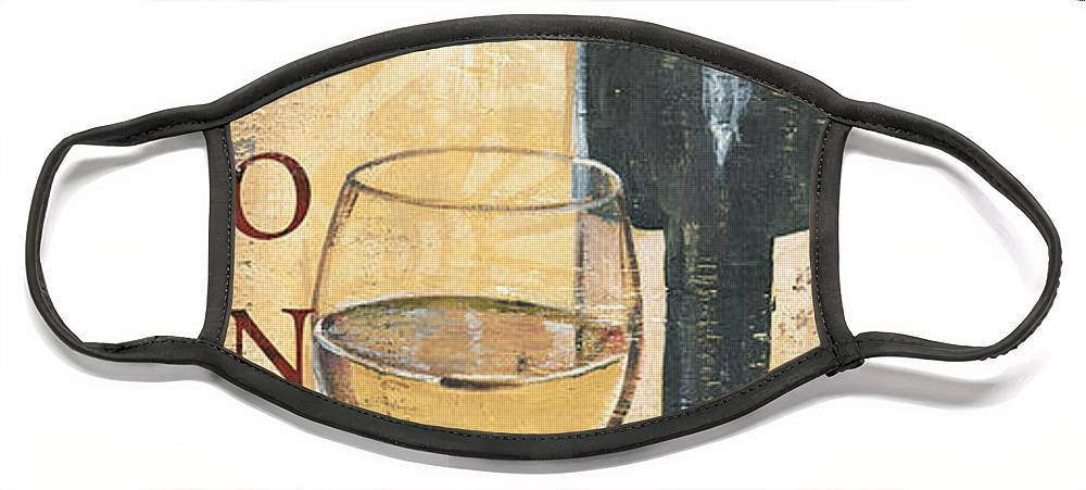 Wine Face Mask featuring the painting Chardonnay Wine and Grapes by Debbie DeWitt