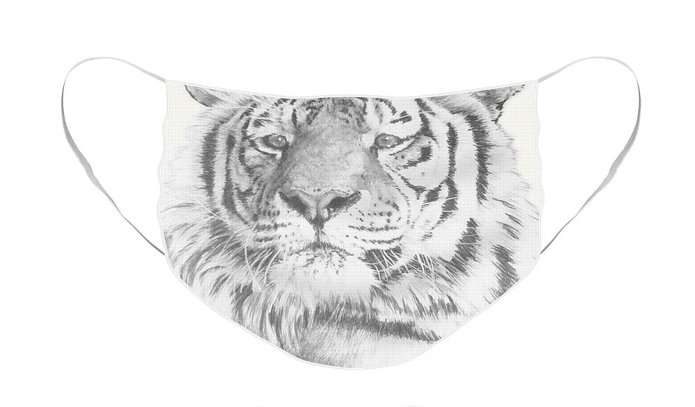 Tiger Face Mask featuring the mixed media Charisma by Barbara Keith